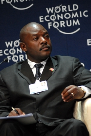 President Pierre Nkurunziza van Burundi op het World Economic Forum in Davos