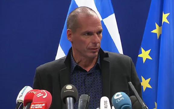 Grieks minister van Financiën Yanis Varoufakis tijdens zijn persconferentie op 16 februari 2015 omstreeks 20.30 uur in Brussel, na de vergadering van de Eurogroep