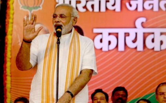 Narendra Modi, leider van de BJP, winnaar van de verkiezingen in India
