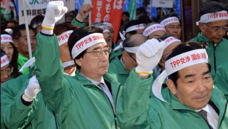 Protest tegen TPP in Azië