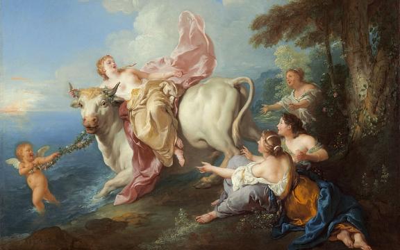 De ontvoering van de Griekse godin Europa, schilderij van Jean François de Troy (1679 - 1752 ). Zeus liet haar ontvoeren op een stier. De stier is sinds de jaren 1930 een symbool van het Wall Street-kapitalisme...