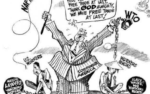 Eindelijk vrijhandel, eindelijk vrijhandel, dank de almachtige god, we hebben eindelijk vrijhandel. Het Amerika van de bedrijven bevrijdt zich van zijn ketens dankzij NAFTA en de WTO. Voor Amerikaanse werkers massale ontslagen en verdwijnende arbeidsrechten. Voor arbeiders in het buitenland slaaflonen en géén sociale rechten. (parodie op 'I have a dream' speech van Martin Luther King, Free at last, We are free at last).