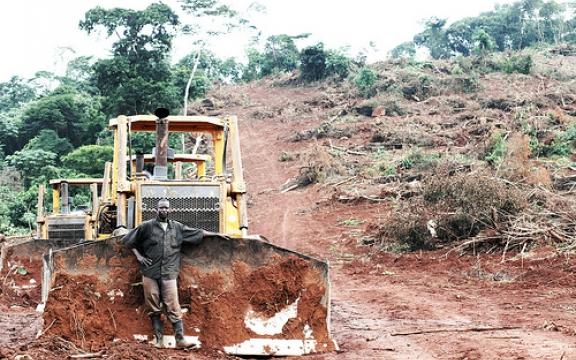 De bewoners van deze gronden in Oeganda kregen twee euro voor het ondertekenen van een papier dat ze niet verstonden en werden twee maand later verdreven van het land dat ze al eeuwen als hun gemeenschappelijk eigendom bewerkten