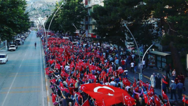 Protestbetoging tegen de mislukte staatsgreep