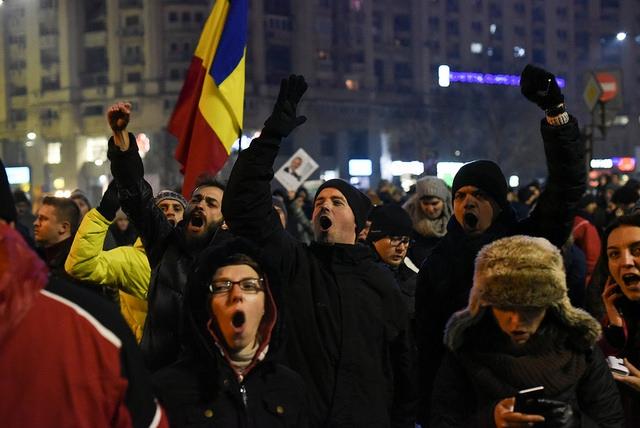 Protestactie op 31 januari 2017 voor het ministerie van justitie