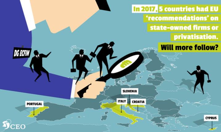 In 2017 kregen reeds vijf EU-lidstaten de dringende 'aanbeveling' overheidsbedrijven te privatiseren