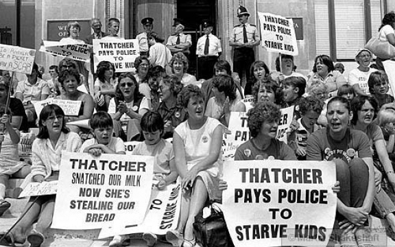 Thatcher pays police to starve kids